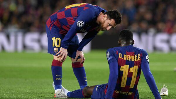 Игроки Барселоны Лионель Месси и Усман Дембеле