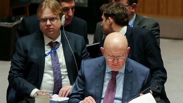 Постоянный представитель РФ при ООН Василий Небензя на заседании Совета безопасности ООН в Нью-Йорке