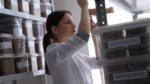 Сотрудница Центра контроля качества проводит лабораторные исследования качества и безопасности сельхозпродукции