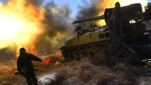 Боевые стрельбы из самоходных артиллерийских установок 2С5 Гиацинт
