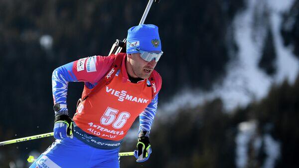 Евгений Гараничев на дистанции гонки преследования среди мужчин на чемпионате мира по биатлону в итальянской Антерсельве