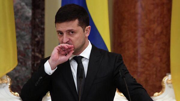 Президент Украины Владимир Зеленский на пресс-конференции в Киеве