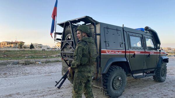 Патруль российской военной полиции в провинции Идлиб