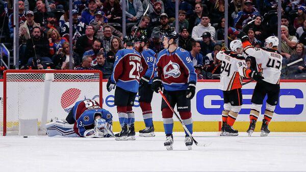 Игроки ХК Анахайм Сэм Стил (34) и Дантон Хейнен (43) радуются голу в матче регулярного чемпионата НХЛ против ХК Колорадо Эвеланш