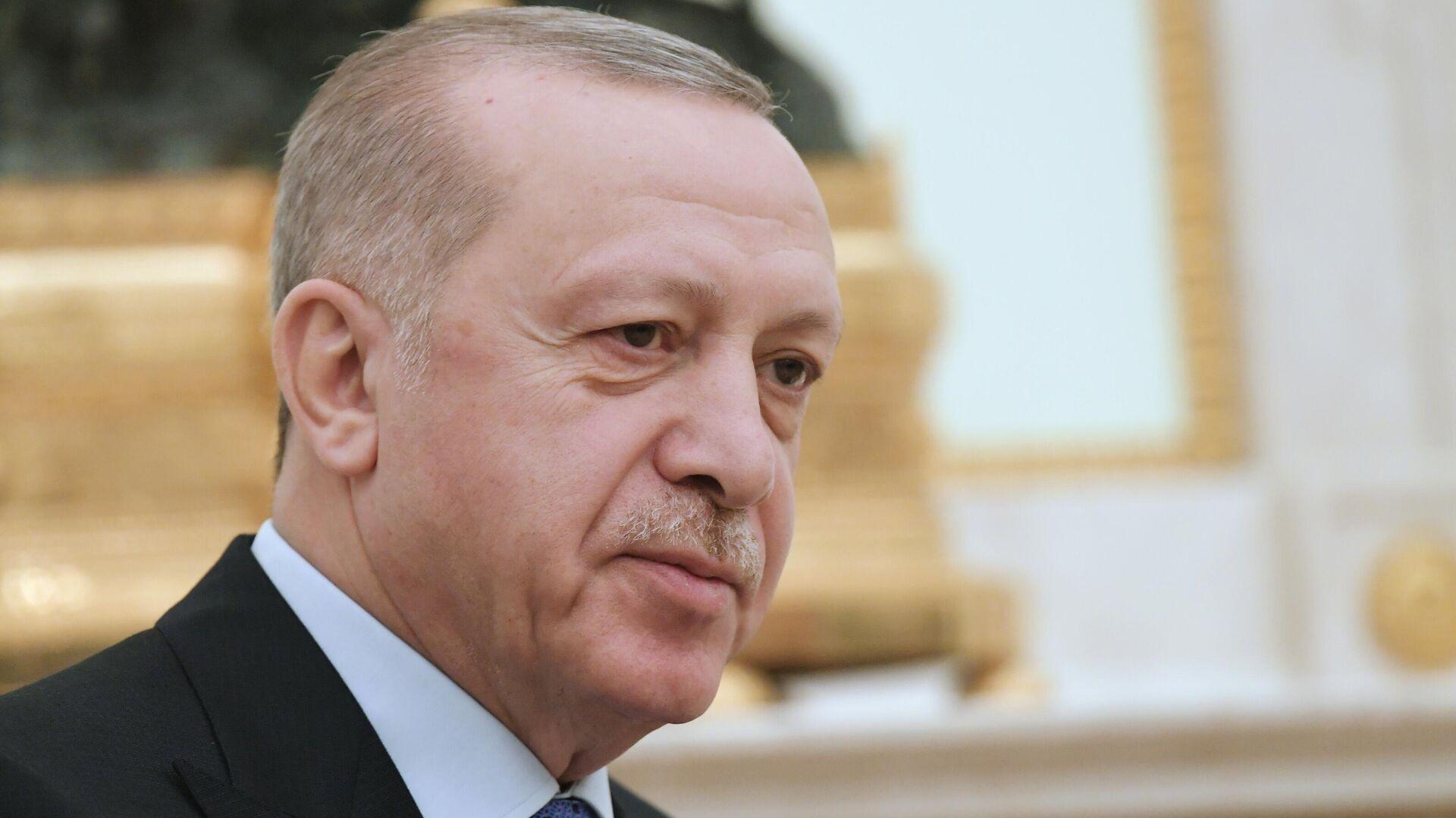 Президент Турции Реджеп Тайип Эрдоган во время встречи с президентом РФ Владимиром Путиным - РИА Новости, 1920, 09.12.2020