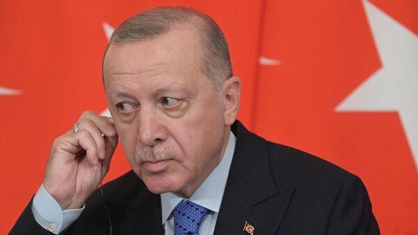 Президент Турции Реджеп Тайип Эрдоган во время совместного с президентом РФ Владимиром Путиным пресс-подхода
