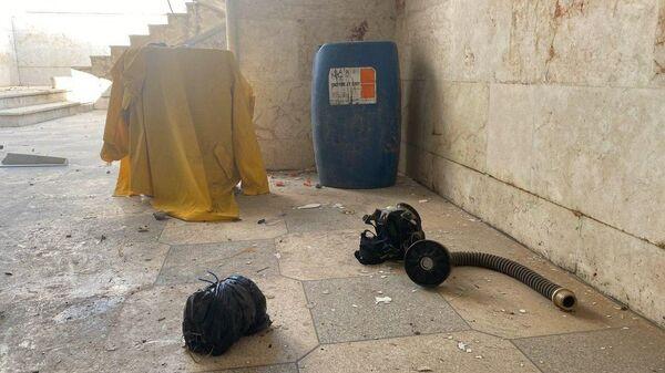 Место, где террористы готовили провокацию с химически отравляющим веществом в городе Саракеб в провинции Идлиб, Сирия