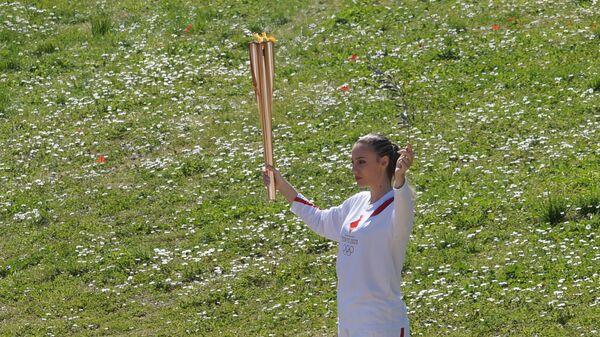 Церемония зажжения олимпийского огня в Древней Олимпии. 12 марта 2020