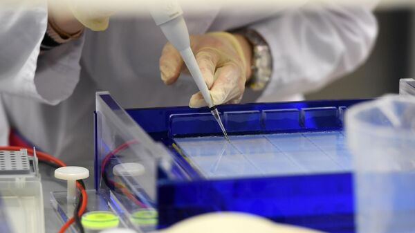 Сотрудник научно-исследовательской лаборатории Генные и клеточные технологии при Казанском федеральном университете готовит препарат