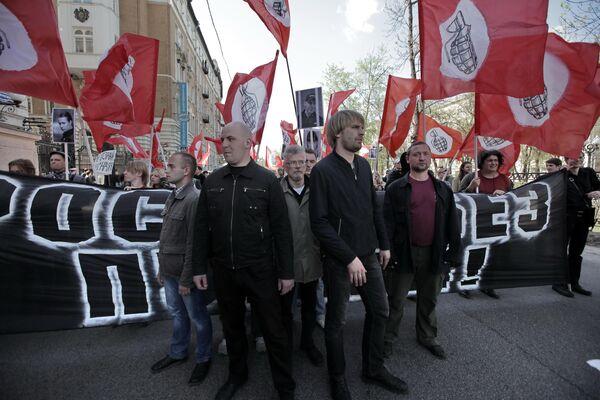 Лидер Другой России Эдуард Лимонов во время акции Левый марш,