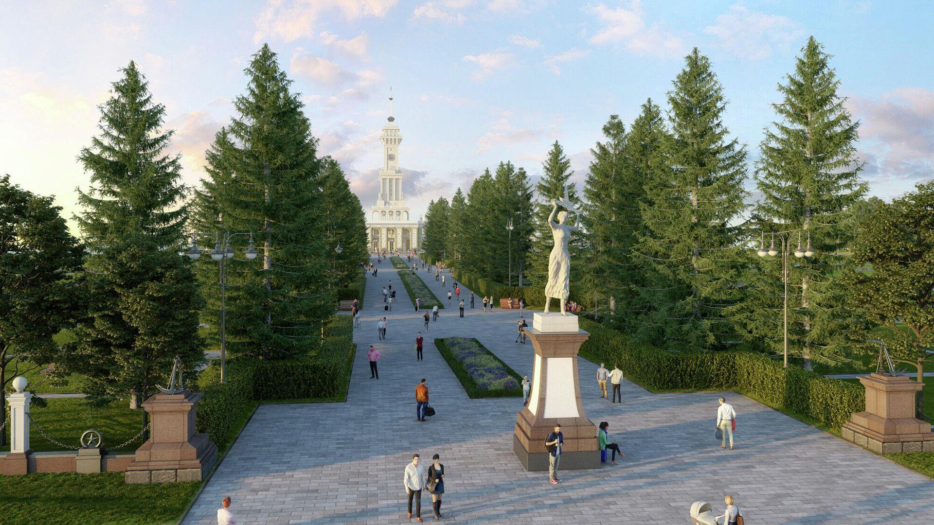 Проект благоустройства парка Северного речного вокзала - РИА Новости, 1920, 03.09.2020