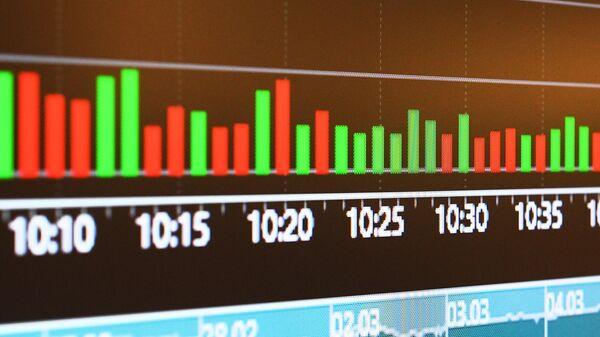 Монитор с данными котировок на бирже