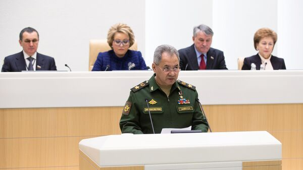 Министр обороны РФ Сергей Шойгу выступает на заседании Совета Федерации