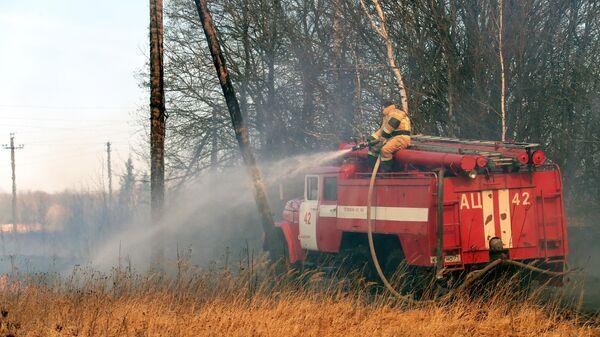 Сотрудник пожарной службы тушит полевой пожар в Тульской области