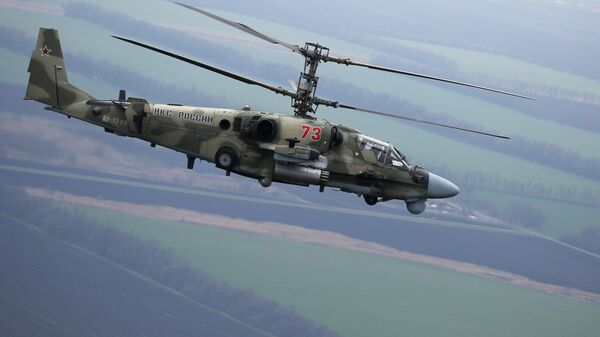 Вертолет Ка-52 Аллигатор во время летно-тактических учений в Краснодарском крае