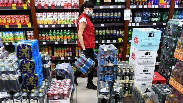 Алкогольная продукция в винно-водочном магазине в Красноярске
