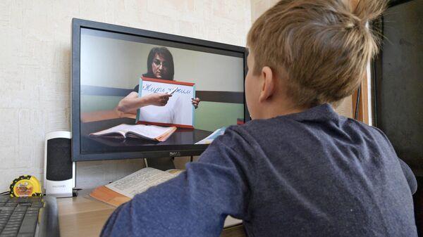Петербургский школьник во время онлайн-занятия