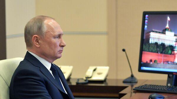Президент РФ Владимир Путин проводит в режиме видеоконференции совещание с руководителями субъектов РФ
