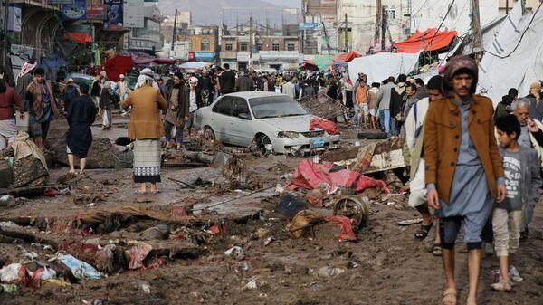 Последствия проливных дождей в Сане, Йемен