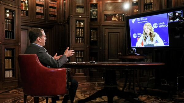 Заместитель председателя Совета безопасности РФ Дмитрий Медведев во время интервью агентству РИА Новости