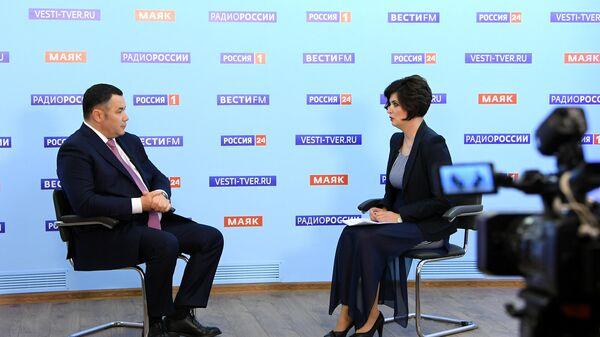 Губернатор области Игорь Руденя выступает в прямом эфире телеканала Россия 24