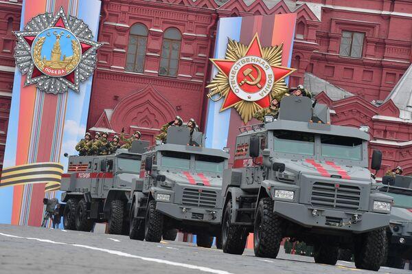 Бронеавтомобили Тайфун-К 4Х4 и Тайфун-У на военном параде, посвящённом 74-й годовщине Победы в Великой Отечественной войне