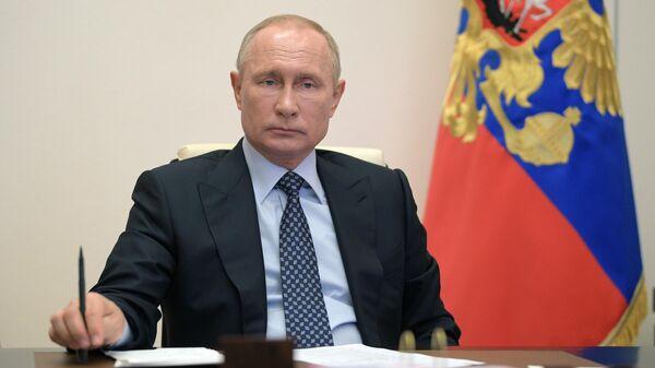 Президент РФ Владимир Путин проводит в режиме видеоконференции совещание вопросам развития топливно-энергетического комплекса