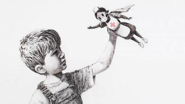 Новая работа художника Бэнкси, посвященная врачам-супергероям