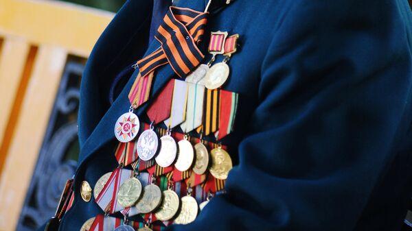 Медали на груди ветерана Великой отечественной войны