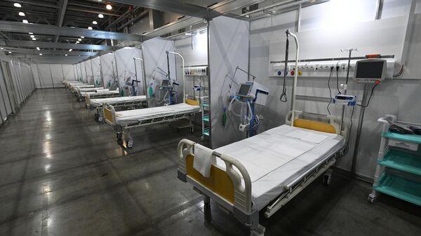 Временный госпиталь для пациентов с COVID-19 в Международном выставочном центре Крокус Экспо в Красногорске