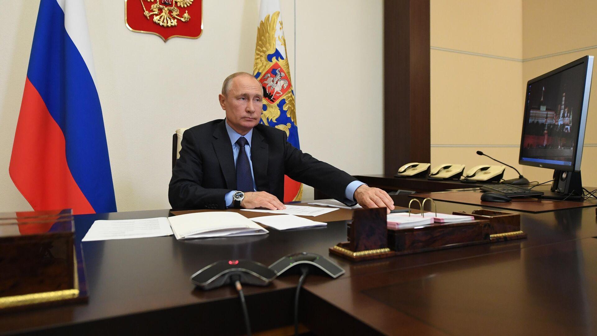Президент РФ Владимир Путин во время совещания в режиме видеоконференции - РИА Новости, 1920, 20.09.2020