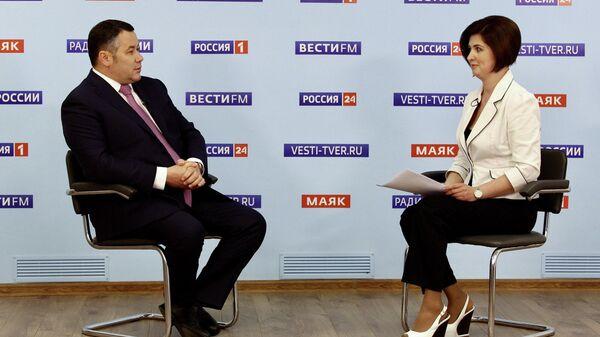 Губернатор Тверской область Игорь Руденя в прямом эфире телеканала Россия 24 Тверь