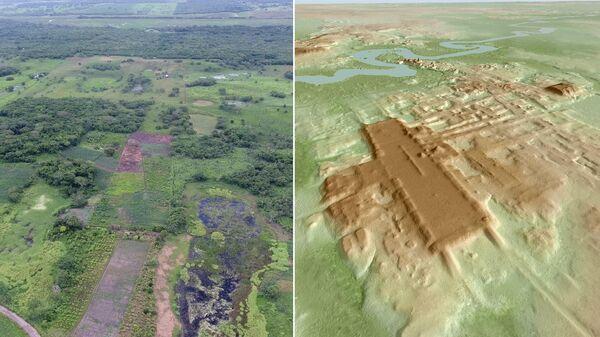 Аэрофотоснимок участка Агуада-Феникс и трехмерное изображение объекта, построенное на основе лидарной съемки