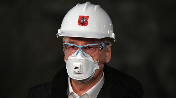 Мэр Москвы Сергей Собянин на церемонии завершения проходки правого перегонного тоннеля между станциями Рижская и Савеловская Большой кольцевой линии