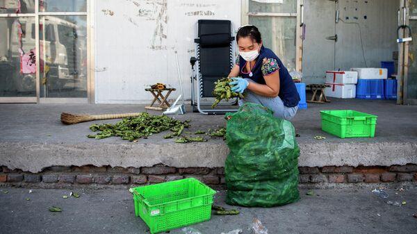 Девушка на оптовом рынке Синьфади в Пекине, Китай