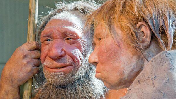 Скульптуры неандертальцев в музее в Германии