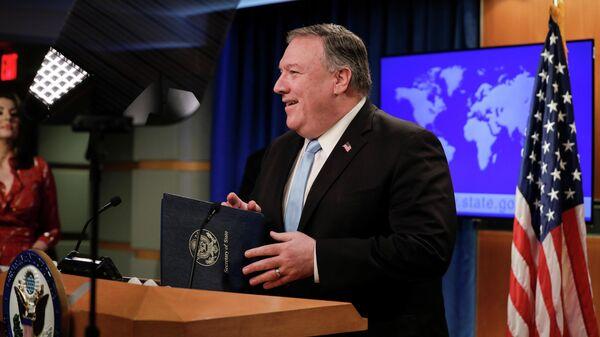 Госсекретарь США Майк Помпео во время выступления в Госдепартаменте в Вашингтоне