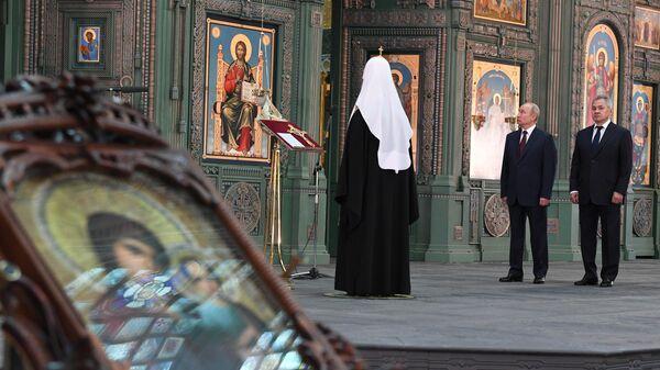 Президент РФ Владимир Путин посетил главный храм Вооружённых Сил