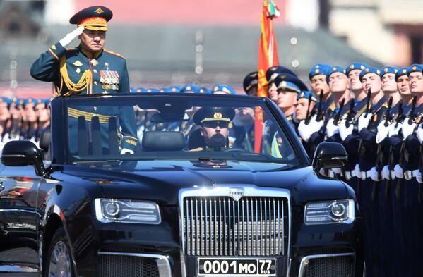 Министр обороны РФ Сергей Шойгу во время военного парада в ознаменование 75-летия Победы в Великой Отечественной войне 1941-1945 годов на Красной площади в Москве