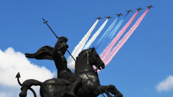 Штурмовики Су-25 во время воздушной части военного парада в ознаменование 75-летия Победы в Великой Отечественной войне 1941-1945 годов в Москве