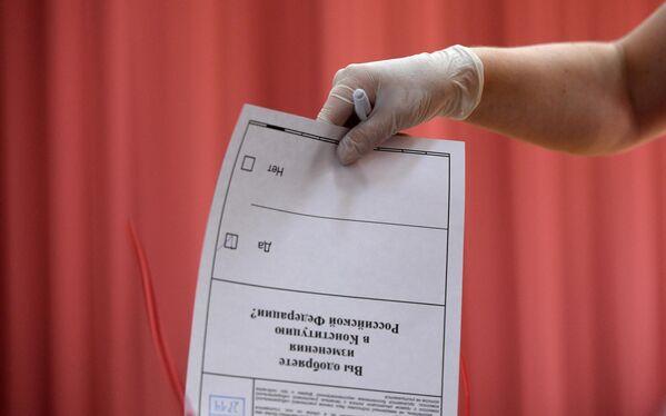 Голосование по вопросу принятия поправок в Конституцию РФ на избирательном участке в Москве