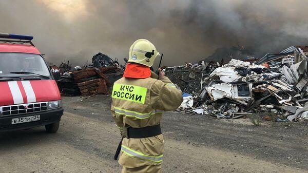 Пожар на полигоне ТБО в Норильске