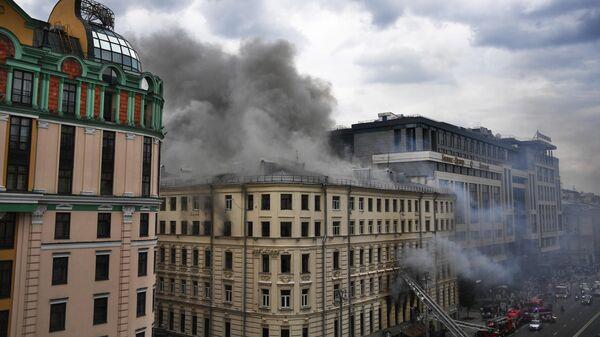 Пожар в здании на Тверской улице в Москве