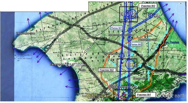 Карта-схема движения подземных потоков в обследованных районах Крыма
