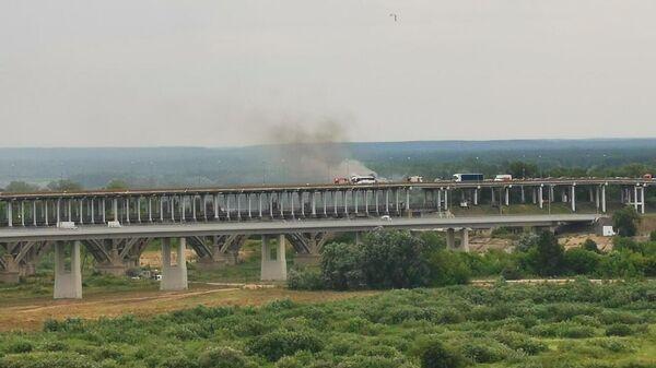 Возгорание туристического автобуса на Борском мосту Нижнем Новгороде