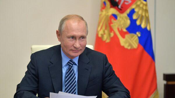 Президент РФ Владимир Путин во время встречи с председателем ЦИК РФ Эллой Памфиловой в режиме видеоконференции