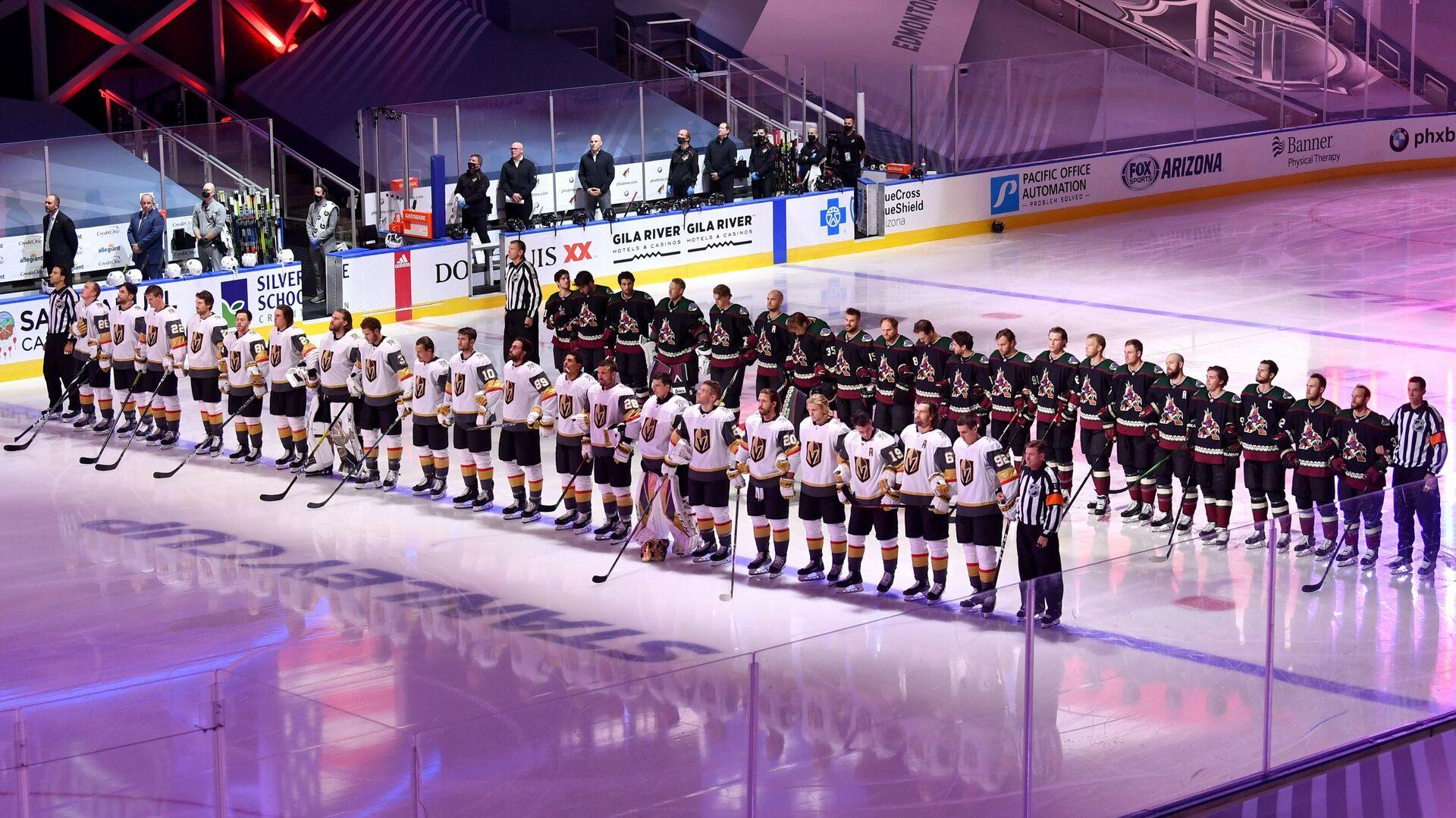 Хоккеисты Вегас Голден Найтс и Аризона Койотис перед выставочным матчем НХЛ - РИА Новости, 1920, 20.09.2020