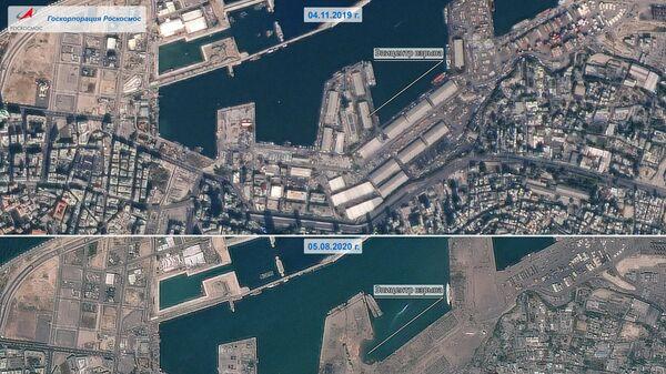 Последствия взрыва в порту Бейрута, сделанные с российского спутника дистанционного зондирования Земли Канопус-В