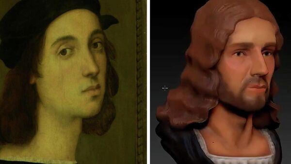 Автопортрет Рафаэля Санти и 3D-модель его лица