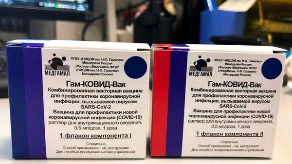 Упаковка первой в мире зарегистрированной вакцины от коронавируса COVID-19 Гам-КОВИД-Вак, разработанной Национальным центром эпидемиологии и микробиологии имени Н. Гамалеи
